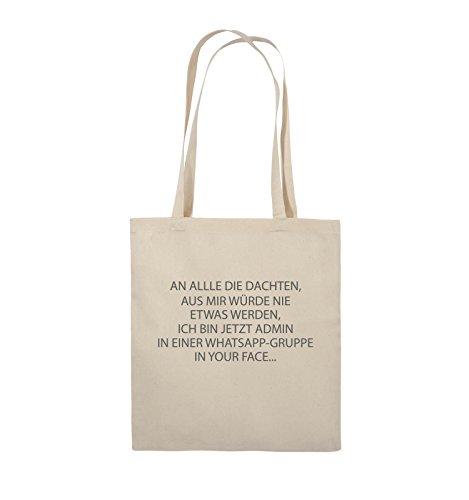 Comedy Bags - ADMIN WHATSAPP GRUPPE - Jutebeutel - lange Henkel - 38x42cm - Farbe: Schwarz / Silber Natural / Grau