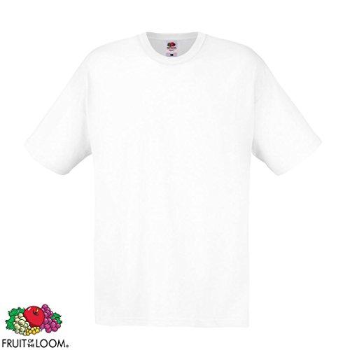 Set 5 pz Fruit of the Loom Maglietta T-shirt originale Walueweight 610360 Cotone 100% Nera Black 5x Bianco L