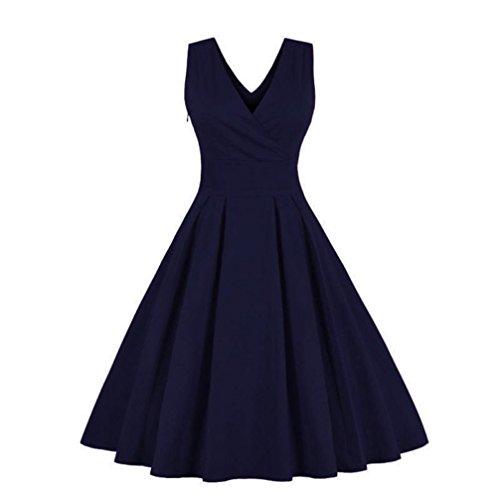 ITISME Damen Ärmelloses Beiläufiges Strandkleid Sommerkleid Solide Lässig Sleeveless Beach Kleid Ausgestelltes Trägerkleid Knielang
