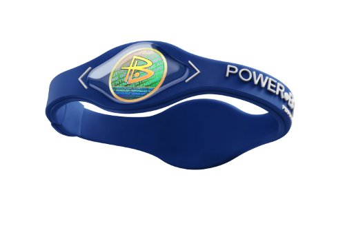 Power Balance Bracciale di silicone, Blu/Bianco, M