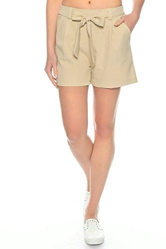 Dress Sheek Damen Elegante Kurze Hose | Crepe Sommer Shorts (Beige, XL)