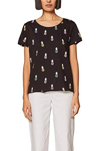 edc by ESPRIT Damen 039CC1K020 T-Shirt, Schwarz (Black 001), X-Large (Herstellergröße: XL) -