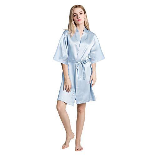 OLESILK Damen Kurz Morgenmantel Satin Kimono Kurzarm Robe Bademantel mit Gürtel V-Ausschnitt Nachtwäsche Negligee, Hellblau - Für Kurze Seide Roben Frauen Kimono