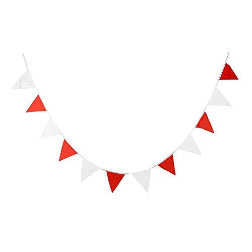 rland Flaggen Kunststoff, 10 Meter, 20 Fahnen, Mehrfarbig Stoff Dreieck Flagge Bunting Für Party Hängende Dekoration, Rote Und Weiß ()