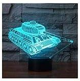 3D Panzer Illusions Lampen Tolle 7 Farbwechsel Acryl berühren Tabelle Schreibtisch-Nachtlicht mit für Kinder Schlafzimmer Geburtstagsgeschenke Geschenk changeant lumières LED