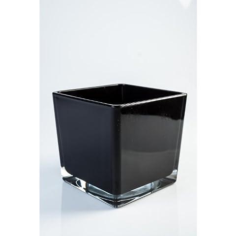 Lot 2 x Vase / photophore en verre carré KIM, noir, 13 x 13 x 12,5 cm - 2 pcs Petit pot de fleurs - INNA Glas