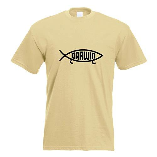 Kiwistar Darwin Fisch T-Shirt Motiv Bedruckt Funshirt Design Print - Jesus-fisch-shirt