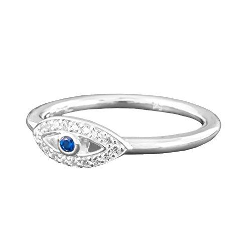 Thomas Sabo Nazar Auge Ring Silber mit Zirkonia und synth. Spinell RG 54 TR2075-412-32-54 (Auge Damen)