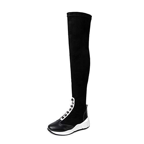 MENGLTX High Heels Sandalen Über Dem Knie Hohe Stiefel Frauen Zwei Stil Nieten Ritter Stiefel Plattformen Lange Warme Winterschuhe Frau Engen Hohen Stiefel 11 Schwarz (Sandalen Stiefel Plattformen 2)