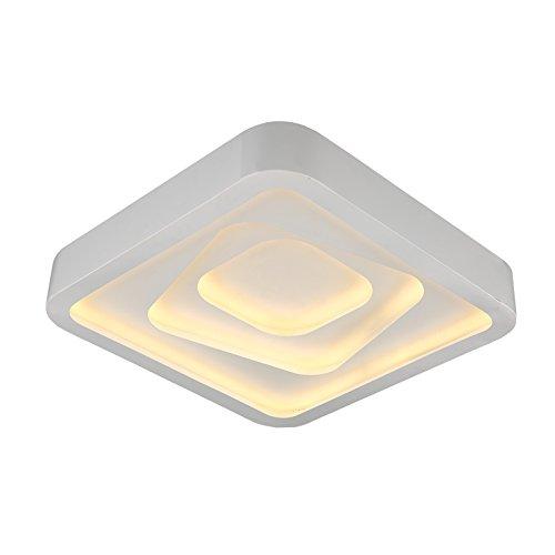 Eurotondisplay LED Deckenleuchte 2114 53 * 53 cm H 12 cm, 60 W mit Fernbedienung Lichtfarbe/Helligkeit einstellbar, Acryl-Schirm, weiß lackierter Metallrahmen (2114 53 * 53 cm H 12 cm, 60 W)