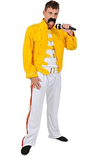 Generique - Rockstar-Herrenkostüm 80er-Jahre Weiss-gelb ()