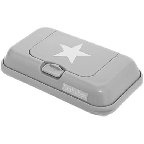 Funkybox - Scatola di salviettine - Grigio con stella bianca