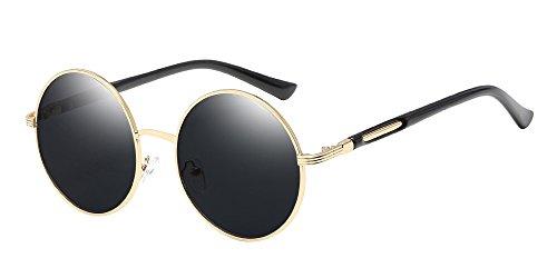 BOZEVON Retro Style Circle Sonnenbrille Runde Linse für Damen Gold-Grau
