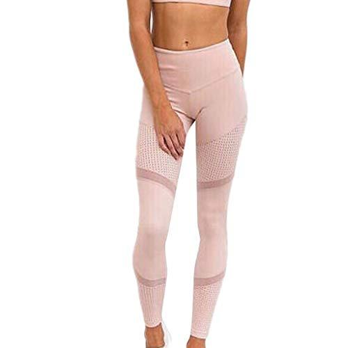 CAOQAO Pantaloni Sportivi di Yoga di Colore Solido di Cucitura Attillata di Cucitura dei Pantaloni a Vita Aperta di Colore Solido a Vita Alta delle Donne