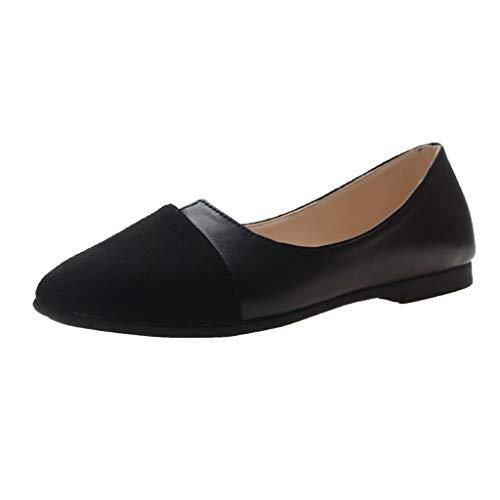 LUGOW Ballerina-Ballett Schuhe Sandalen Damen Schnallenriemen Sandalen Römische Schuhe Zehentrenner Hausschuhe Keilabsatz Einzelne Flache Schuhen Flache Schuhe(36,Schwarz)