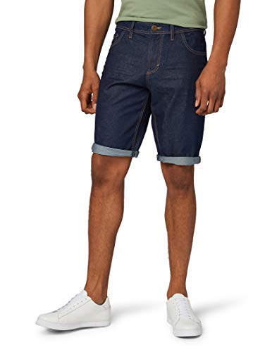TOM TAILOR für Männer Jeanshosen Josh Regular Slim Bermuda Shorts Rinsed Blue Denim, 34 Herren Cord Hose
