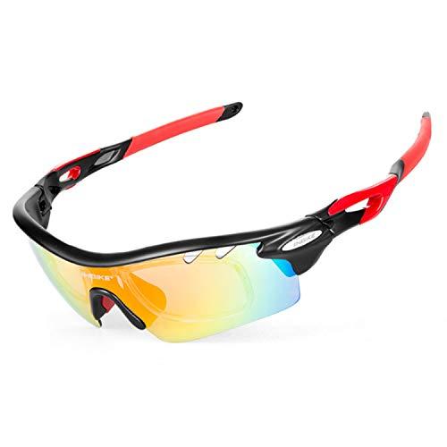 WY1688 Outdoor-Reit Sonnenbrille Polarisiert Sport-Sonnenbrille Mit 5 Austauschbaren Objektiven UV400 Schutz Sport-Sonnenbrille Für Fahrrad Lauf Gläser,A