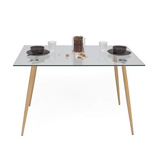 Mesa de Comedor Cairo con Tapa de Cristal y Patas de Metal con símil Madera Color Roble, 120x80 cm