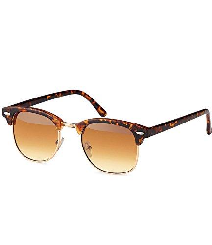 Preisvergleich Produktbild caripe Retro Sonnenbrille Clubmaster - clubma (Modell 4 - Hornstyle - braun getönt)
