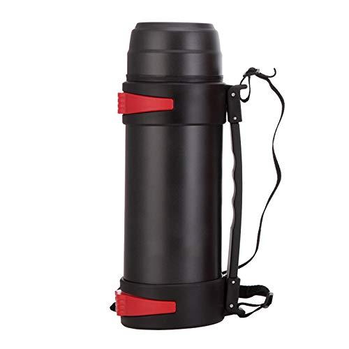 Huiit 2L Edelstahl Vakuum Isolierte Glaskolben Thermische Karaffe Große Glaskolben Heißwasserflaschen,Black,2.2L -
