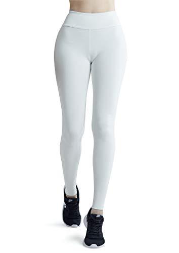 Wirezoll Damen Leggings Blinkdicht Yoga Leggings Fitnesshose, Weiß, XS