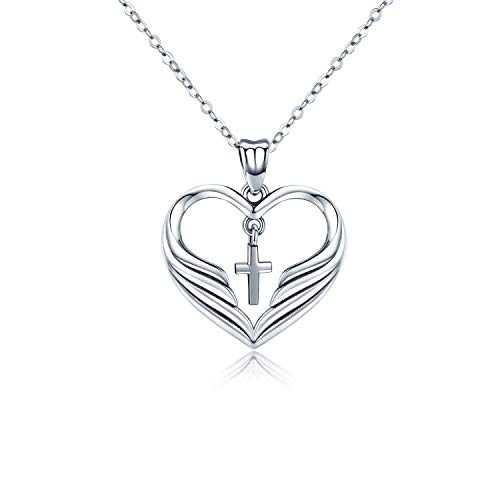 Kreuz Kette Damen Schmuck Herz Halskette 925 Sterling Silber Kruzifix Frau Anhänger religiöse Geschenke für Damen Mutter,Mama,Frauen Mädchen Kette 45,7 cm mit Box (Kreuz Mädchen Halskette)