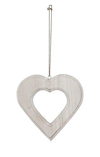 Holz Deko Hänger Herz mit Kordel (weiß, 20cm)
