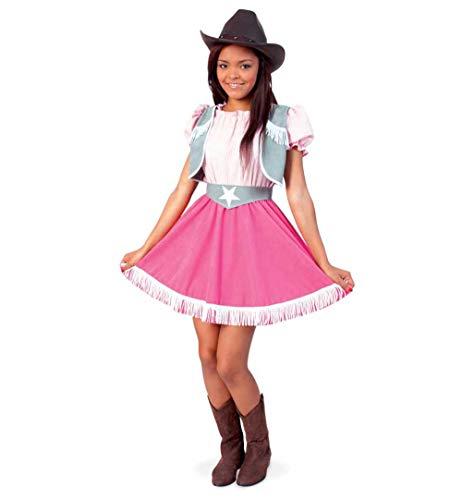KarnevalsTeufel Kinderkostüm Cowgirl 2-teilig Kleid in rosa-pink mit grau & Gürtel Wilder Westen Lady Western-Verkleidung Reiterin (Gr. 140) - Gaucho-kleid