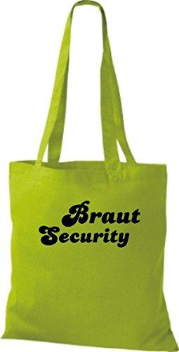 Shirtstown Stoffbeutel JGA Braut Security viele Farben lime