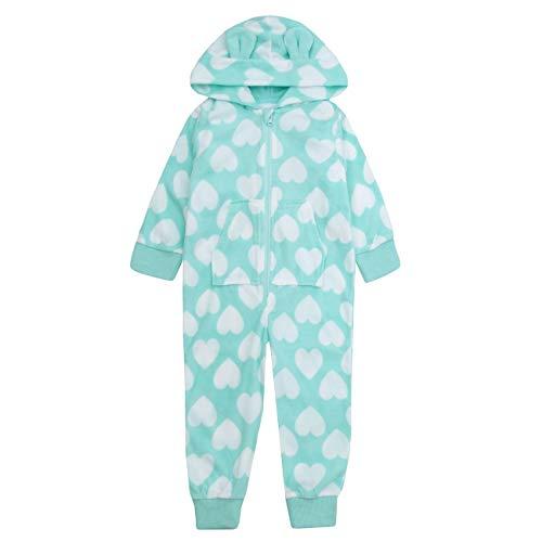 ONEZEE Mädchen Herz Microfleece Alles in eins mit Kaputze - Grün, 158 - Fleece-pyjamas-herz