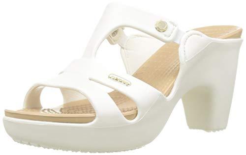 Crocs Cyprus V Heel W, Scarpe col Tacco Punta Aperta Donna, Bianco (Oyster/Gold 13s), 38/39 EU