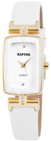 Raptor Damenuhr mit Echtlederarmband, Dornschließe, Armbandlänge 22cm