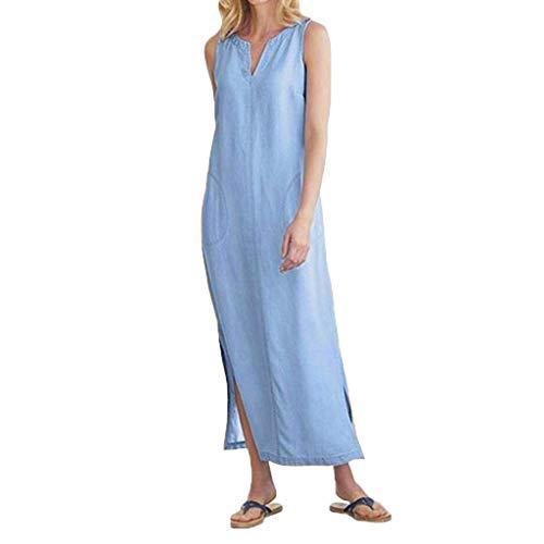 us Baumwolle Kleid für Frauen Sommer Strandkleider Ärmellos V-Ausschnitt Seitentasche Lange Kleider Casual Langes Maxikleid Kaftan Gerades Kleid S-2XL ()