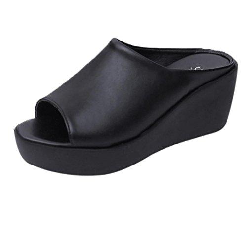 Damen Keilabsatz Flip Flop, FNKDOR Plateau Slipper Zehentrenner Pantoletten Schuhe (38, Schwarz)