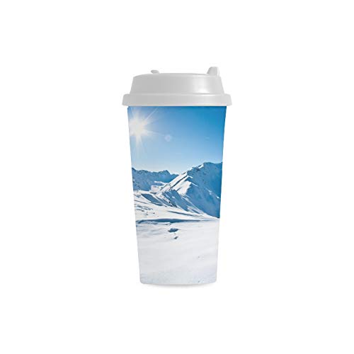 Schöner Winter Schnee Gebirgsgewohnheit personalisierter Druck der 16 Unze doppelwandigen Plastikisolierungssport Wasser Flaschen Schalen Pendler Reise Kaffeetassen für Studenten Frauen Milch Teacup