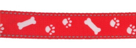 Nylon Lead Reflective Paw N Bone Red 1m X19mm Sz 1-9