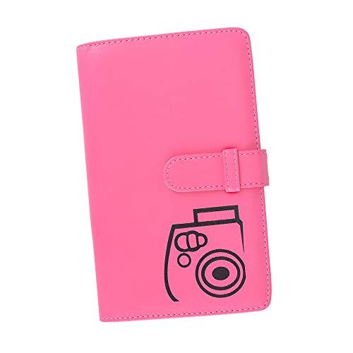 Boogooa 108 tasche mini album fotografico per fujifilm instax mini 9 8 8+ 25 26 50s 7s 70 90 fotocamera istantanea e targhetta (rosa)