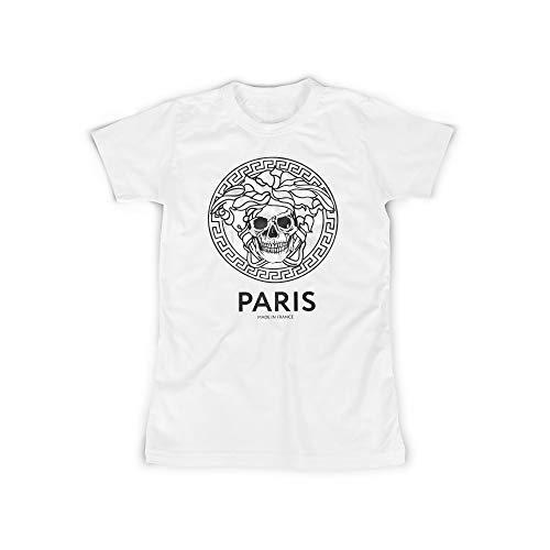 licaso Frauen T-Shirt mit Paris - Made in France Aufdruck in White Gr. XXXXXL Totenkopf Skull Dead Design Top Shirt Frauen Basic 100% Baumwolle Kurzarm