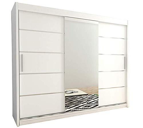 Kryspol Schwebetürenschrank Verona 2-250cm mit Spiegel Kleiderschrank mit Kleiderstange und Einlegeboden Schlafzimmer- Wohnzimmerschrank Schiebetüren Modern Design (Weiß) -