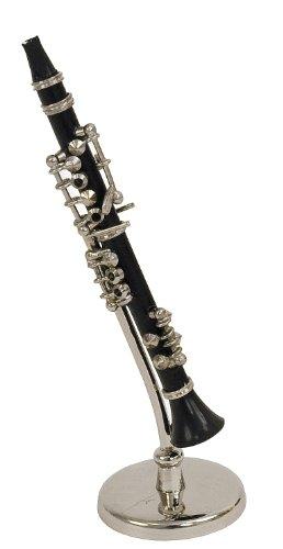 Clarinette Miniature - Bakélite - Objet de décoration - Cadeau Musique - Livré dans Son Coffret avec Support - Hauteur 16 cm