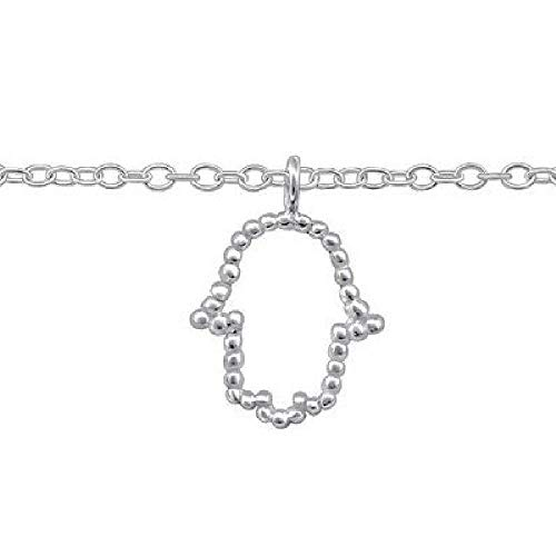 So Chic Bijoux© Fußkettchen Länge verstellbar: 22 bis 25 cm, Handkettchen Fatima Khamsa Glücksbringer Silber 925