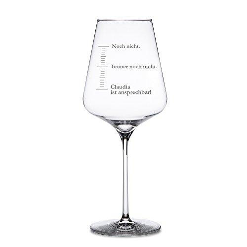 """AMAVEL - Rotweinglas mit Gravur – Maßeinheiten – """"Noch nicht!"""" – Personalisiert mit Namen - Weinglas als Stimmungsbarometer – Geschenk für Frauen – Weihnachtsgeschenk – Muttertagsgeschenk"""
