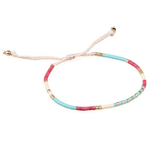 KELITCH Armband MischFarbe Rocailles Perlen Zart Schnur Freundschaftsarmbänder für Mädchen Damen - #05