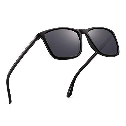 JIM HALO Polarisiert Fahren Sonnenbrille Retro Platz UV Schutz Klassisch Sonne Brille Herren(Schwarz/Polarisiertes Grau)