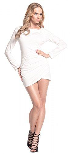 Glamour Empire. Femme. Robe courte jersey. Manches longues. Devant plissé. 941 Blanc