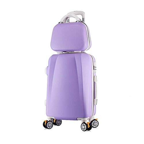 Aufrechter Koffer (Jstyal968 Yalztc-zyq16 Handgepäck-Set aufrecht Hartschalen-Koffer für unterwegs Hartschalenkoffer Reise-Trolley ABS (Farbe : Lila, größe : 26in))
