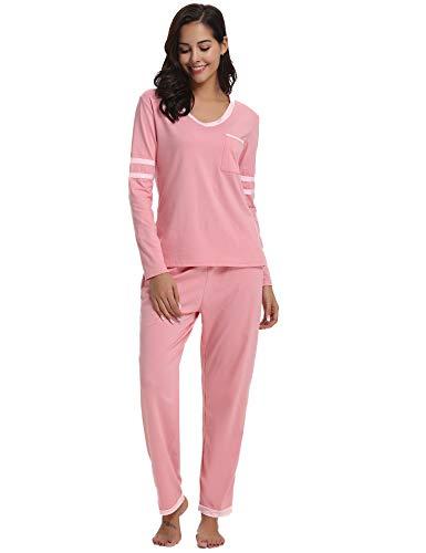 Hawiton donna pigiama lungo in due pezzi set tuta invernale in cotone camicia da notte con maniche lunghe pantaloni lunghi completino per casa hotel