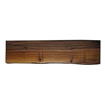 4 Wandregal mit Baumkante – Nußbaum – 60 cm x 18 cm x 3,0 cm