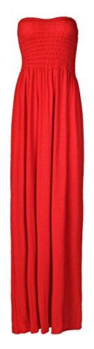 Roten Langen Kleid (Fast Fashion Damen Maxi Kleid Plus Größe Plain Umführungsvorrichtung Bandeau)