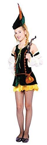 Teen &ältere Mädchen 4 Stück Forest Maiden Karneval Jäger Bogenschütze Halloween Welttag des Buches Woche Kostüm Kleid Outfit 12-15yrs (Geld Beutel Kostüm Zubehör)